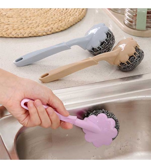 Pack of 2 Stainless Steel Scrubber With Plastic Handle Brush