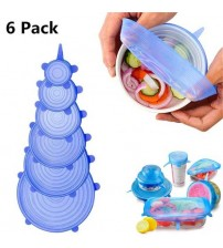 6 Pack Flexible Silicone Cover Lids Bowl Covers for Glass Jar