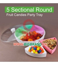 5 Sectional Round Fruit Candies Party Tray