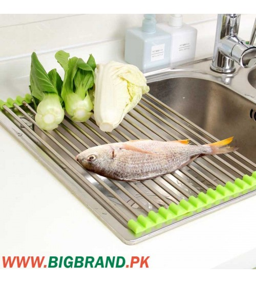 Folding Stainless Steel Drainer Tray Sink Dish Drying Rack