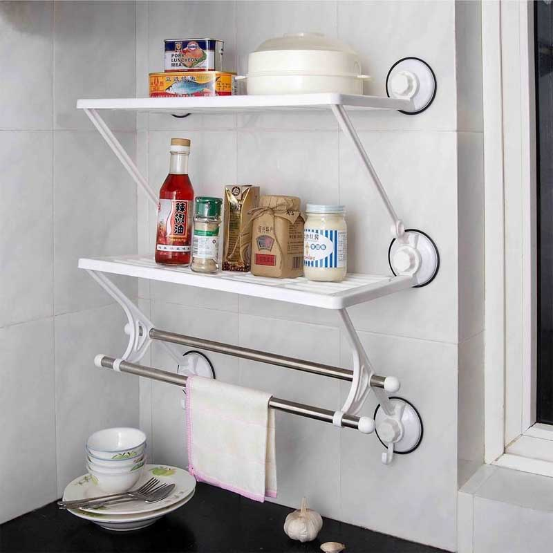 2 Layer Double Rod Wall Storage Rack Shelf with Suction Cup
